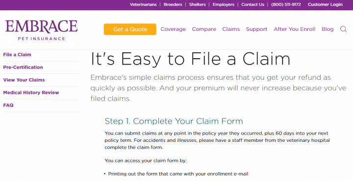 How to file a claim with Embrace Pet Insurance