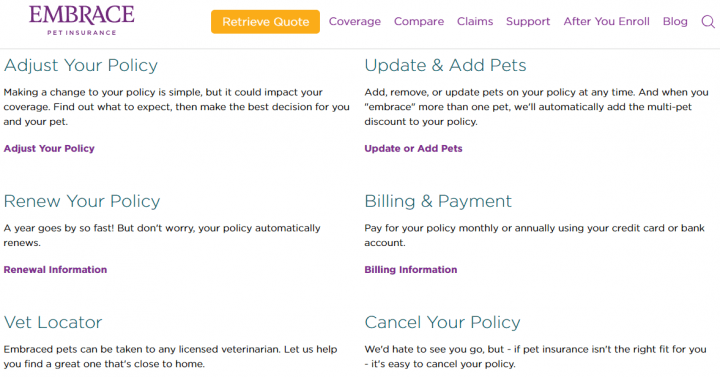 Support page with Embrace Pet Insurance