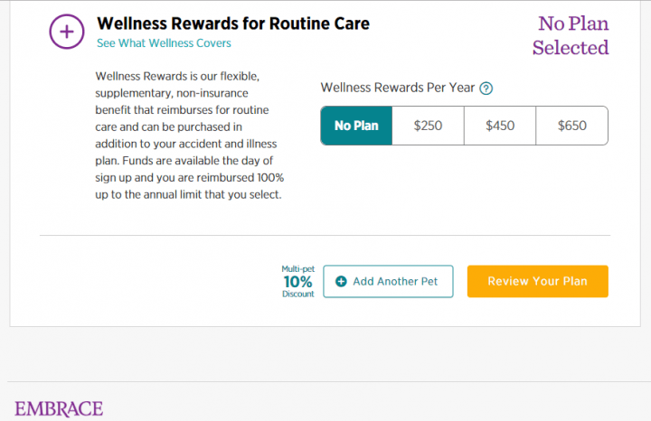 Wellness plan options with Embrace Pet Insurance