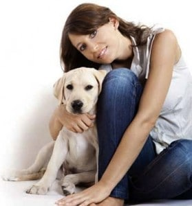 Pet owner with her labrador dog
